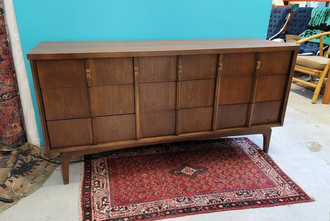 Mid-Century Modern Walnut Nine Drawer Dresser