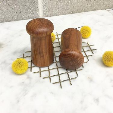 Vintage Salt and Pepper Shakers 1960s Mid Century Modern + Hand Carved + Teak Wood + Mushrooms + Set of 2 + MCM + Home and Kitchen Decor by RetrospectVintage215