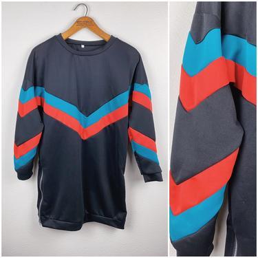 80s Black with Teal & Orange V Pullover Dress • Longsleeve • Small/Medium by SonjloStudio