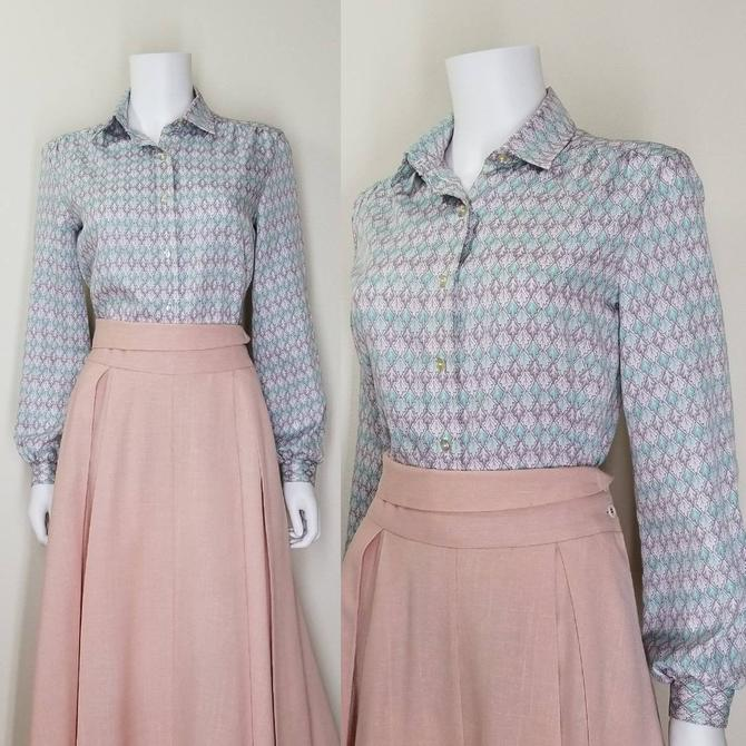 Vintage 70s Button Blouse, Medium / Pastel Secretary Blouse / Retro 1970s Polyester Top / Womens Long Sleeve Shirt / Country Western Shirt by SoughtClothier
