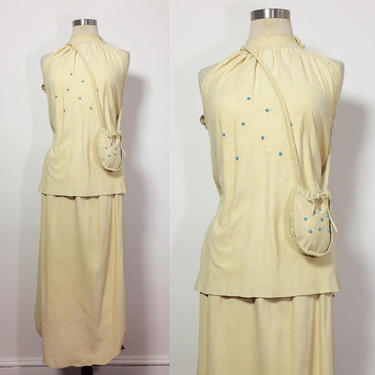a99655341 Vintage Suede Matched Set / Suede Halter Top & Skirt / 70s Hippie Boho /  Handmade