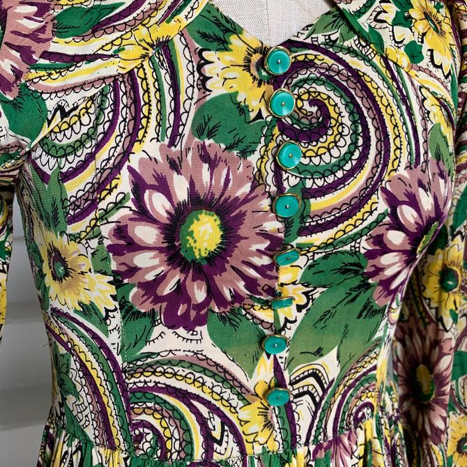 """RARE AF! 1940""""s Rayon Jersey Two Piece Halter Dress and Bolero Set Floral Print STUNNING! 32"""" bust by AmalgamatedShop"""