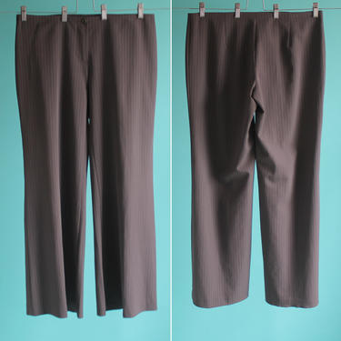 Midrise Vintage Pinstripe Wide Leg Pants Benetton Large by BeggarsBanquet