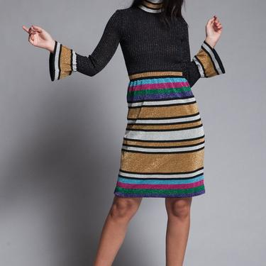 metallic striped knit dress lurex bell sleeves sparkly party cocktail turtle neck vintage SMALL MEDIUM S M by shoprabbithole