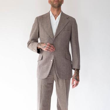 Vintage 70s Ralph Lauren Polo Brown Tweed Houndstooth Suit   Made in USA   100% Wool   Wide Lapel, Flare Leg   1970s POLO Designer Suit by TheVault1969