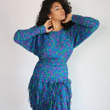 90s Silk Floral Dress | Fitted Trumpet Mermaid Dress | Ruffle Skirt Dress | Batwing Dress | Size 8 10 Medium Large by jmichaelvintage