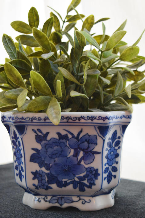 Blue And White Chinoiserie Asian Fl Square Planter By Capitolvintagecharm