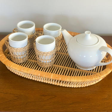 Vintage wicker and china tea set by FrankiesVintageTrunk