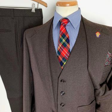 Vintage 1970s 100% Wool Flannel 3pc Suit ~ 40 Long ~ vest / waistcoat ~ pants / jacket / sport coat ~ Preppy / Ivy Style / Trad by SparrowsAndWolves