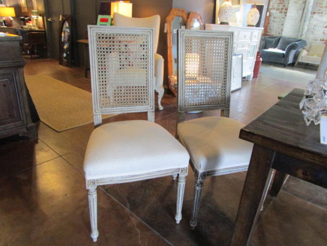 SET OF SIX PAINTED CANE BACK DINING CHAIRS WITH NEW UPHOLSTERY