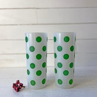Vintage Frosted Green Polka Dot Tumbler Glasses // Set of 2 // Midcentury Barware, Polk Dot Collector // Retro Black Glasses // Perfect Gift by CuriouslyCuratedShop