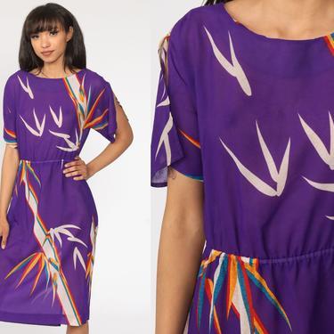 Purple Floral Dress SHEER Midi Dress Tropical Bohemian 80s Short Sleeve Dress Secretary Vintage Boho High Waisted 1980s Vtg Medium by ShopExile