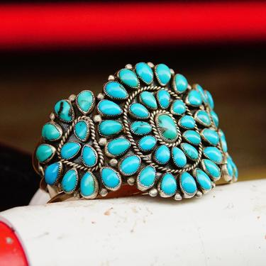"""Vintage Navajo Signed JM Begay Silver Turquoise Cuff Bracelet, Chunky 52 Stone Turquoise Cluster Cuff, Native American Jewlery, 5 1/4"""" L by shopGoodsVintage"""