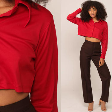 Red Crop Top 70s Shirt Plain Blouse Collared Button Up Red 1970s Long Sleeve Retro Vintage Cropped Shirt Small Medium by ShopExile
