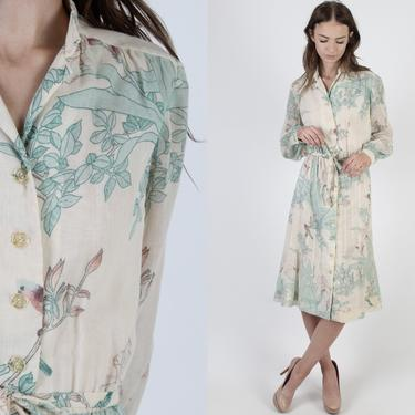 Vintage 70s Wild Iris Flowers Dress / Lightweight Ivory Floral Midi Mini / Womens Casual Button Up Front / Matching Waist Tie Belt by americanarchive