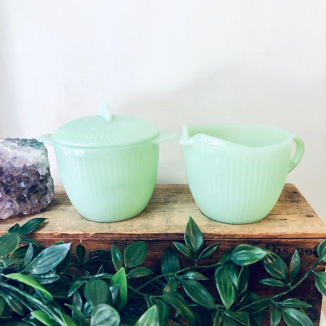 Fire King Jane Ray Jadeite Cream and Sugar Bowl, Vintage Jadeite Creamer Sugar Set, Fire King Collectible Glassware, Green Milk Glass, Green by shopGoodsVintage