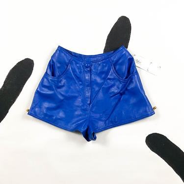 80s 90s Cobalt Blue Leather Hot Shorts / Gold Zippers / Soft / Buttery / Deadstock / Fly Girl / High Waist / Colored Leather / Size 8 / M by shoptrashdotnet