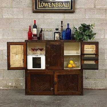 LOCAL PICKUP ONLY Vintage Hoosier Cabinet Retro 1940's Hanging Wood Wall Bar with Original Metal Hardware Three Shelves and Ice Container by RetrospectVintage215
