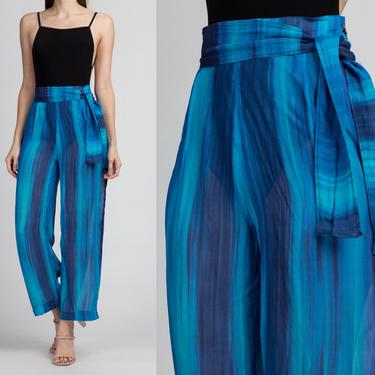 """Vintage Sheer Blue Striped Pants - Small, 27"""" 