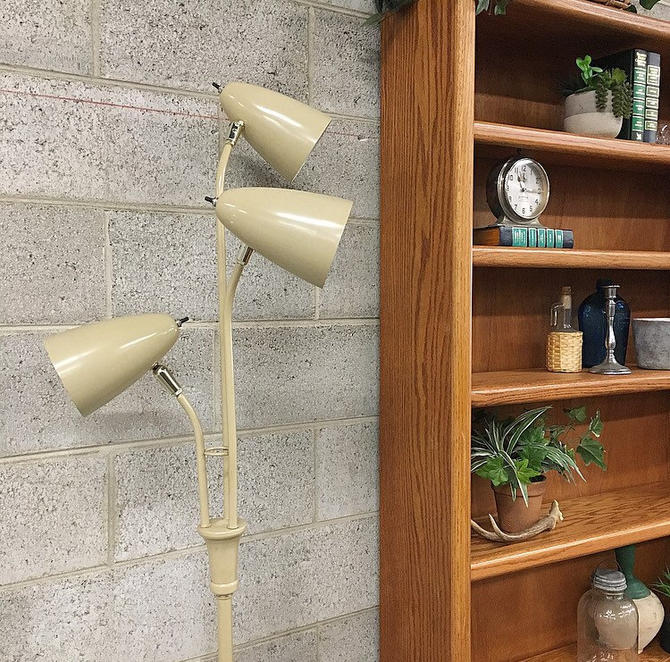 LOCAL PICKUP ONLY Vintage Floor Lamp Retro 1960s Mid Century Modern Tall Metal Creme Lamp with 3 Shades for Living or Bedroom by RetrospectVintage215