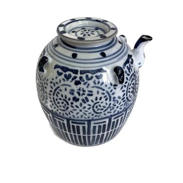 Vintage Chinese Blue And White Oil Jar by FunkyRelic