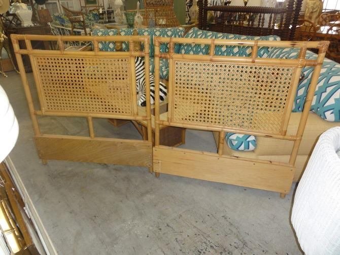 Pair of Twin Rattan & Cane Headboards