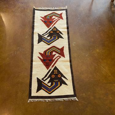 Vintage New Old Stock, Hand Crafted South American Tapestry Textile, Wall Hanging / Table Runner, Mid Century Modern Fish Motif by PrimaForme