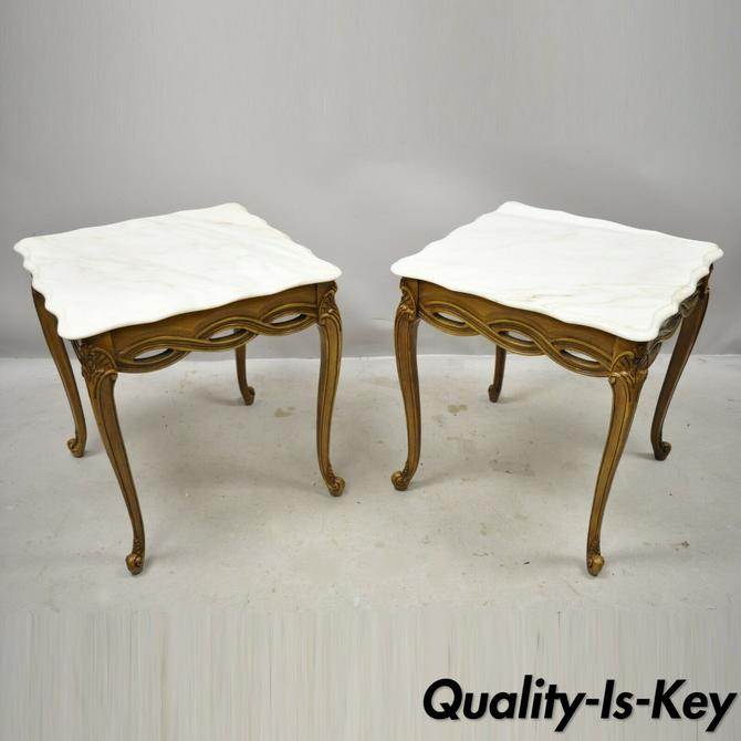 Italian Neoclassical Hollywood Regency Marble Top Woven Ribbon End Tables - Pair