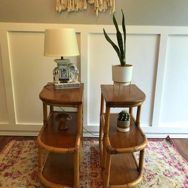 Mid century rattan and wood 3  tier table, end table or plant stand vintage bohemian by VintageCoreReStore