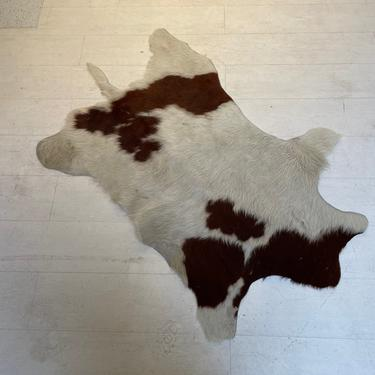Cowhide Rugs Brown and White, Vintage Mid Century Accent Rug by XcapeVintage