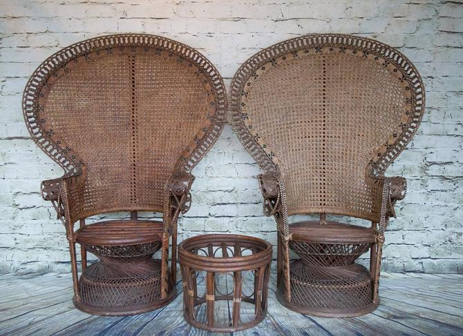 SHIPPING NOT FREE!!! Set of 2 Vintage Peacock Chairs with footstool by WorldofWicker