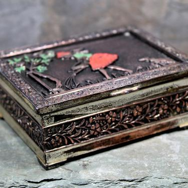 Japanese Metal Box with Wood Lining - Made in Japan - Girl in Garden - Copper Plated Trinket Box  |FREE SHIPPING by Bixley