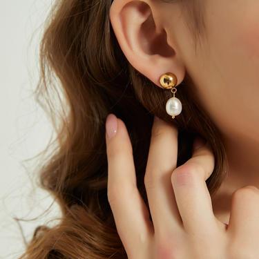 Teagan real pearl drop earring, Pearl Drop Earrings, gold dome Pearl Earrings Gold, Pearl Dangle Earrings, Real Pearl Earrings, gift for her by MelangeBlancDesigns
