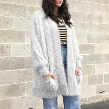 Vintage Sweater Retro 1980s Handmade + Angora + Rabbit + Dusty Grey + Fuzzy + Open Front Cardigan + Long Sleeve + Womens Apparel by RetrospectVintage215