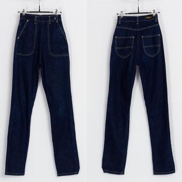"Retro 1950s Style High Waist Jeans - Extra Small, 24"" | Dark Wash Indigo Denim Tapered Leg Contrast Stitch Jeans by FlyingAppleVintage"
