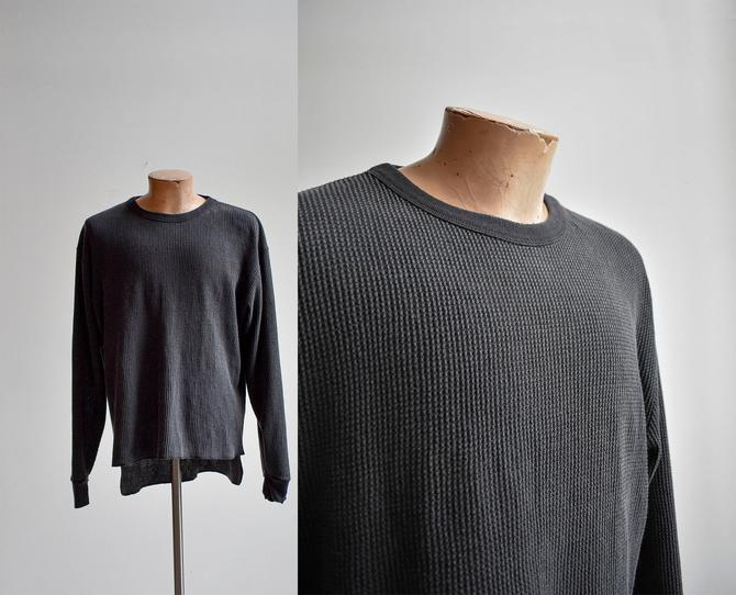 Vintage Hand Dyed Black Thermal Shirt by milkandice