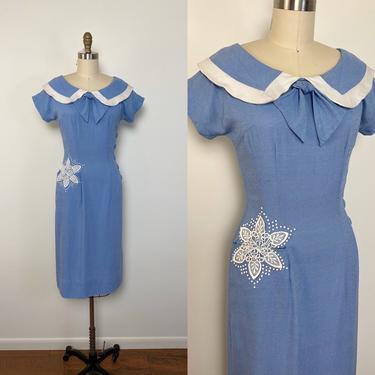 Vintage 1950s Dress 50s Toni Todd Rayon Wiggle Dress by littlestarsvintage