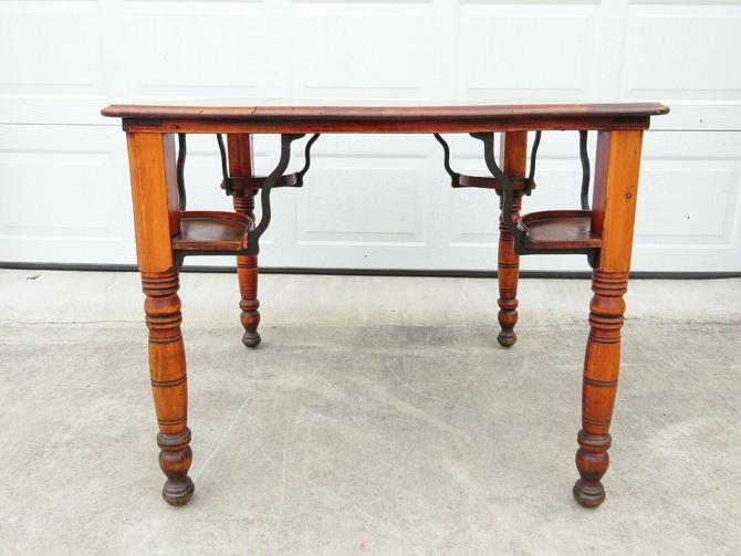 ANTIQUE Handmade PRIMITIVE CHERRY WOOD & IRON; GAME or TEA TABLE; Country Dining