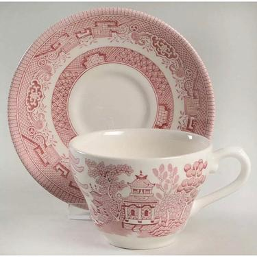 Collection of 11 vintage cups and saucers Willow Rosa pink by HolbrookBazaar
