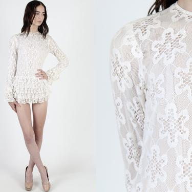 60s Ivory Micro Mini Dress / Vintage 1960s Mod Scooter Dress / All Over Floral Lace Go Go Dress / Sexy Short Ruffle Skirt Tiered Dress by americanarchive
