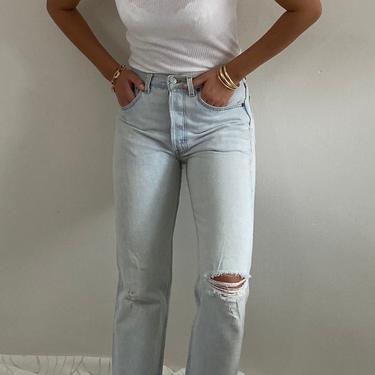 80s Levis 501 soft faded jeans / vintage Levis 501 light wash faded thread bare holes soft denim red tab high waisted button fly jeans | 29 by RecapVintageStudio