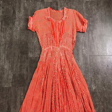 Vintage 1940s gown . vintage 40s striped dress by BlueFennel