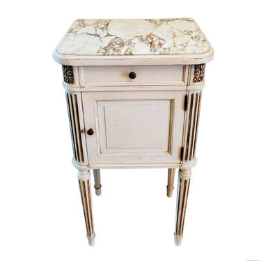 Antique French Louis XVI Style Bedside Nightstand Table, Parisian Distressed Painted White with Carved Gilt Accents Side Cabinet End Table by LynxHollowAntiques