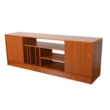 Danish Teak Room Divider \/ Vinyl Storage – Media Cabinet with Sliding Doors