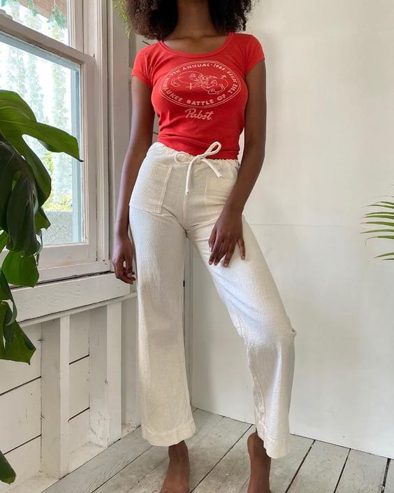 80s Ivory Cotton Pants