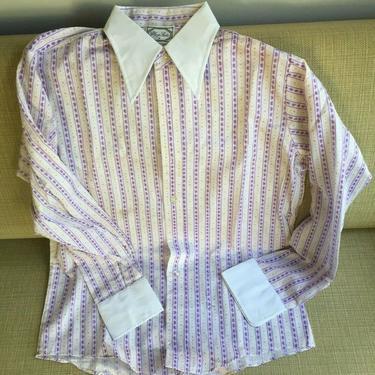 1970S DEADSTOCK MEN'S LONG SLEEVE PAISLEY PRINT DRESS SHIRT MEDIUM vintage