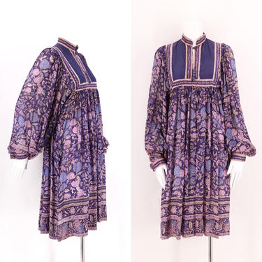 70s PHOOL silk India print peasant dress / vintage 1970s hippy loose fit sheer festival dress sz S by ritualvintage
