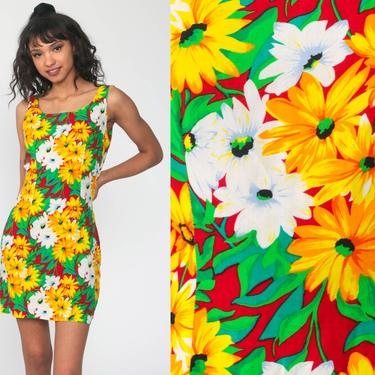 Hawaiian Dress Bright Rayon Dress Sun Dress 90s Mini Floral Tropical Print Sundress Summer Vintage 1990s Sleeveless Sheath Minidress Small by ShopExile