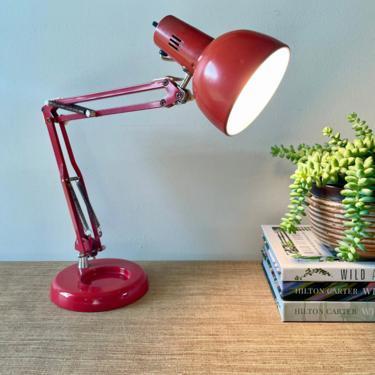Vintage Desk Lamp - Red Articulating Desk Light - Adjustable Desk Lamp - Retro Drafting Desk Lamp - Industrial Lamp - Office Decor by SoulfulVintage