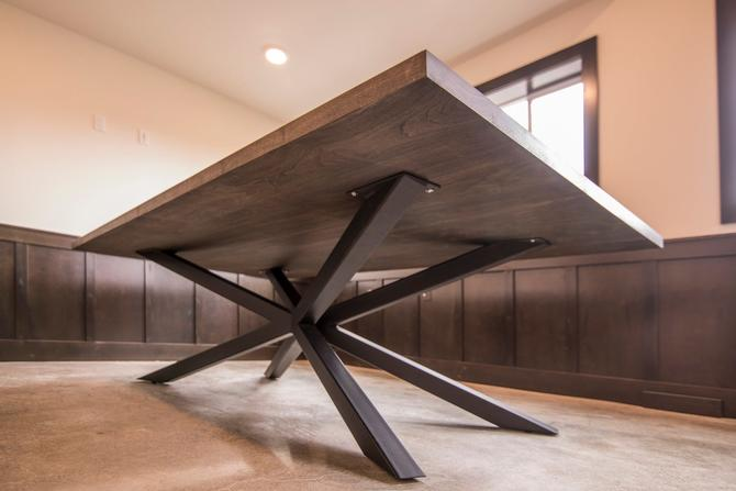 Walnut Conference Table with custom made steel base by MathesonWoodwork